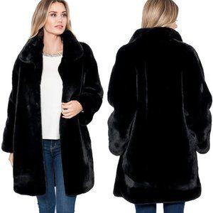 Love Token Turner Faux Fur Coat Jacket Black $244
